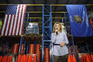 Heidi Cruz, wife of U.S. Republican presidential candidate Cruz, speaks at a campaign event at Lakeside Plastics in Oshkosh, Wisconsin