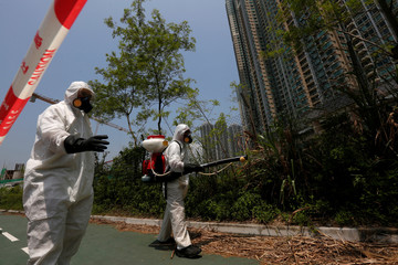 Workers from the Food and Environmental Hygiene Department kill mosquitoes outside a construction site near a residential area in Hong Kong