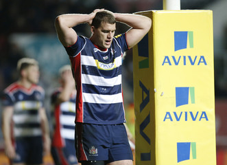Bristol's Ian Evans looks dejected after he is sin binned