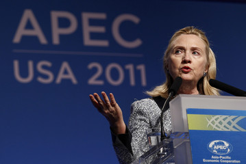 \U.S. Secretary of State Hillary Clinton speaks during a news conference at the APEC Summit in Honolulu, Hawaii