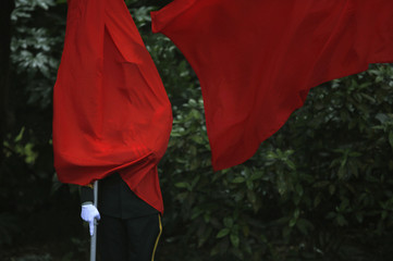 A flag covers the face of an honour guard, during a welcoming ceremony for visiting Russian President Putin during a bilateral meeting with China's President Xi at Xijiao State Guesthouse ahead of the fourth CICA summit, in Shanghai