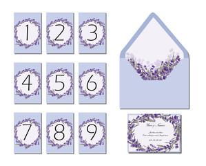 lavender wedding floral invitation and envelope