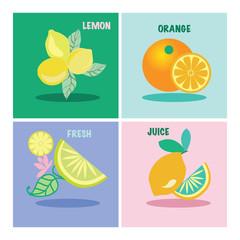 vector set of four icon lemons and orange-illustration