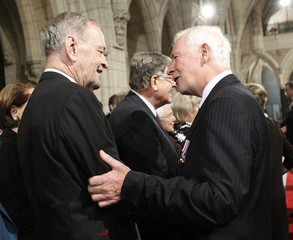 Canada's GG Johnston speaks with former PM Chretien following his swearing-in ceremony in Ottawa