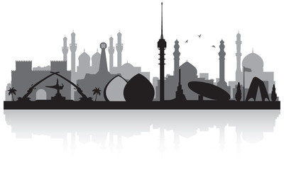 Wall Mural - Baghdad Iraq city skyline silhouette