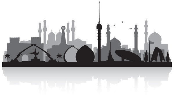 Baghdad Iraq city skyline silhouette