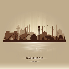 Wall Mural - Baghdad Iraq city skyline vector silhouette