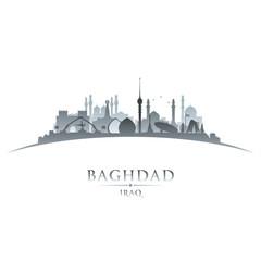 Baghdad Iraq city skyline silhouette white background