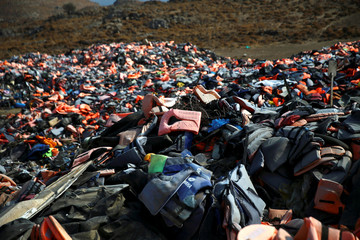 Thousands of lifejackets left by migrants and refugees are piled up at a garbage dump site near the town of Mithymna (also known as Molyvos) on the island of Lesbos