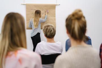 frauen hören zu in einem seminar
