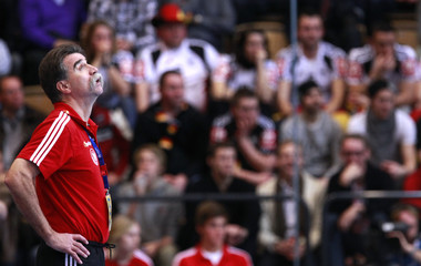 Germany's coach Brand reacts during his team's Group A match against  France at Men's Handball World Championship in Kristianstad