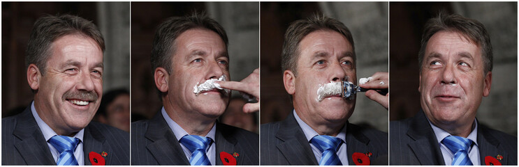 Combination photo shows New Democratic Party Member of Parliament Stoffer shaving off moustache to raise money for prostate cancer research in Ottawa