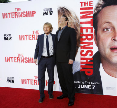 """Cast members Wilson and Vaughn pose at the premiere of """"The Internship"""" in Los Angeles"""
