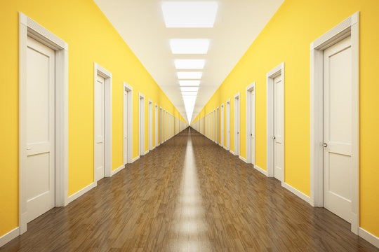 an endless corridor with lots of white doors