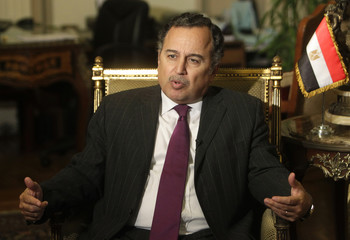 Egyptian Foreign Minister Fahmy speaks during an interview with Reuters at his office in Cairo
