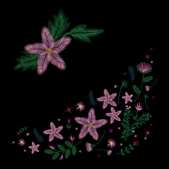 Set of colorful embroidery. Decollete floral pattern with plants. ethnic. Vector traditional traditional flowers on a black background