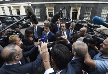 Italy's Prime Minister Renzi leaves 10 Downing Street following a meeting with Britain's Prime Minister Cameron in London