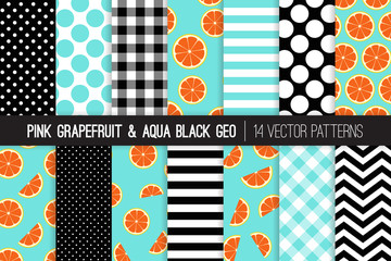 Pink Grapefruit Seamless Vector Patterns with Aqua, Black and White Chevron, Stripes, Polka Dots and Gingham. Grapefruit Slices on Aqua Background. 50s Rockabilly Style. Pattern Tile Swatches Included