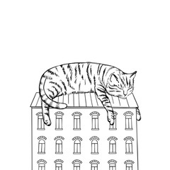 Surrealistic illustration of a big cat sleeping on the roof. Vector sketch.