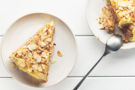 Almond cake with caramel, soft focus, horizontal, top view
