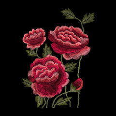 Colorful embroidery. Neckline flower pattern with roses, ethnic. Vector traditional traditional flowers on a black background