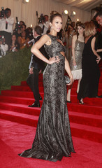 """Actress Jessica Alba arrives at the Metropolitan Museum of Art Costume Institute Benefit celebrating the opening of """"PUNK: Chaos to Couture"""" in New York"""
