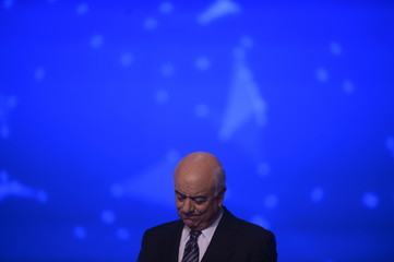 Chairman and CEO of Spain's second largest bank BBVA Francisco Gonzalez listens to a presentation during the general shareholders' meeting at the Palacio Euskalduna in Bilbao