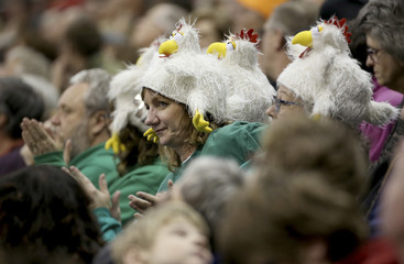 Fans wearing chicken hats clap during draw 8 at the Roar of the Rings Canadian Olympic Curling Trials in Winnipeg