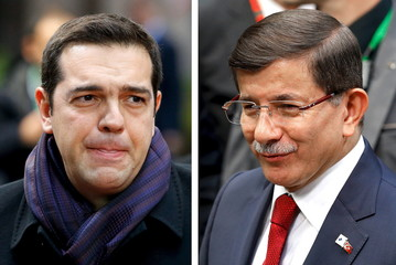 A combination photo shows Greek Prime Minister Alexis Tsipras and Turkish Prime Minister Ahmet Davutoglu arriving separately at a EU-Turkey summit in Brussels