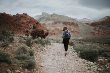 Rear view of hiker with backpack walking at Red Rock Canyon National Conservation Area