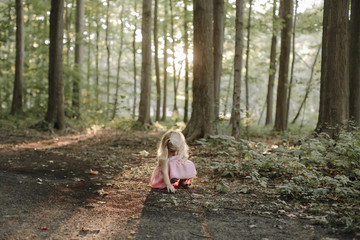 Full length of girl picking leaves while crouching on field in forest
