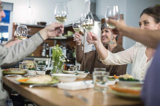Friends toasting wine while sitting at the table