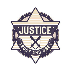 Justice icon, trust and obey symbol, star sheriff logo concept symbolized law and order.