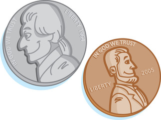 Cartoon illustration of two coins.