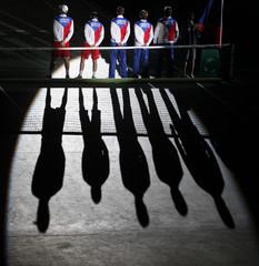 Members of Czech team arrive before their Davis Cup doubles final match in Prague