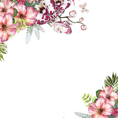 Tropical watercolor flowers. card with floral illustration - orchid, hibiscus. flowers isolated on white background. Leaf, butterfly and buds. Exotic composition for invitation