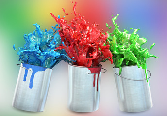 3d illustration of different colors splashing from paint buckets