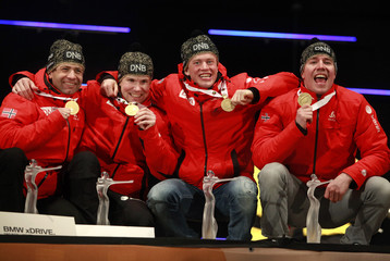 The team of Norway celebrate the winning of the men 4 x 7.5 km relay race during a medal ceremony at the Biathlon World Championships in RuhpoldingRuhpolding