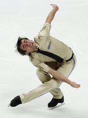 Bradley of U.S. performs during men's short program competition at ISU World Figure Skating Championships in Moscow