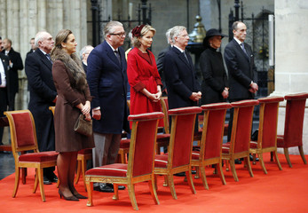 Belgium's royal family Princess Claire, Prince Laurent, Princess Mathilde, Crown Prince Philippe, Princess Astrid and Prince Lorenz attend a Te Deum mass on the occasion of King's Day in Brussels