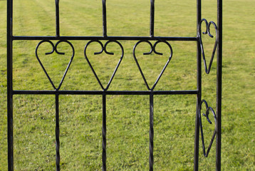 metal decorative fence  with heart elements