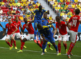 Ecuador's Valencia scores a goal against Switzerland during their 2014 World Cup Group E soccer match at the Brasilia national stadium in Brasilia
