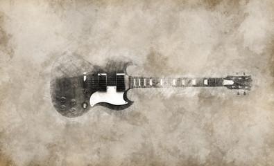 Vintage illustration of cool hard rock guitar