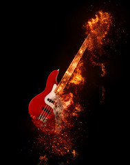 Epic rock bass guitar on fire
