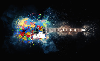 Colorful psychedelic rock guitar - grunge illustration Fotomurales