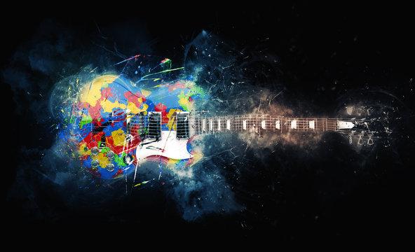 Colorful psychedelic rock guitar - grunge illustration