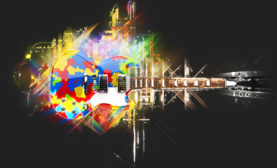 Shiny colorful rock guitar