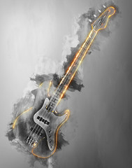 Hard rock bass guitar - abstract black and white illustration