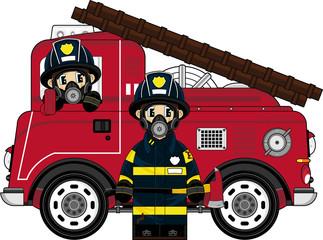 Cartoon Fireman and Fire Engine
