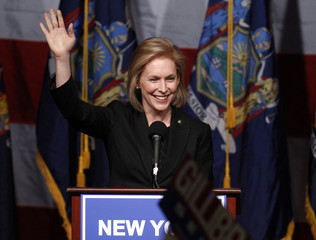 U.S. Senator Kirsten Gillibrand (D-NY) celebrates her re-election victory at a rally in New York